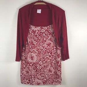 Venezia Red White Floral Layer Blouse Top 18/20 ?